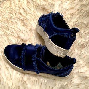 "Sam Edelman Blue Satin ""Levine"" Low Top Pull on Fashion Sneaker"